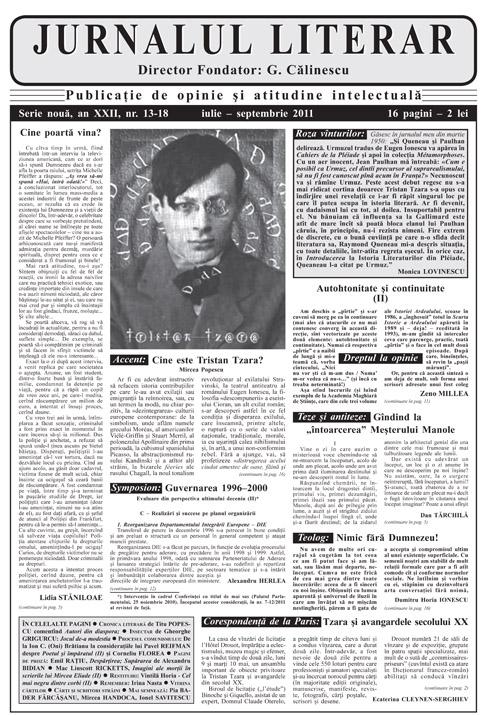 Prima pagină Jurnalul lierar 13-18 iulie-septembrie 2011