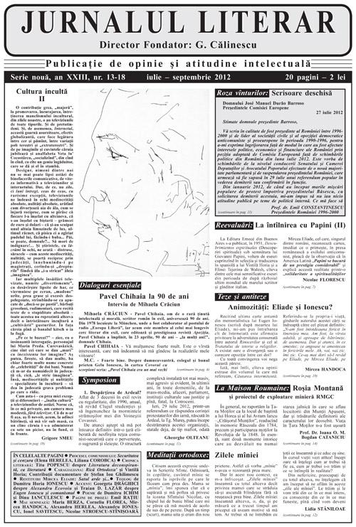 Prima pagină Jurnalul literar 13-18 iulie-septembrie 2012