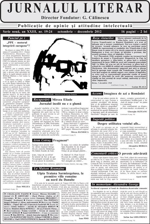 Prima pagină Jurnalul literar 19-24 octombrie-decembrie 2012