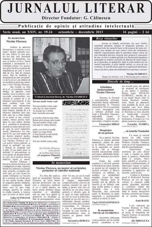 Prima pagină Jurnalul literar 19-24 octombrie-decembrie 2013