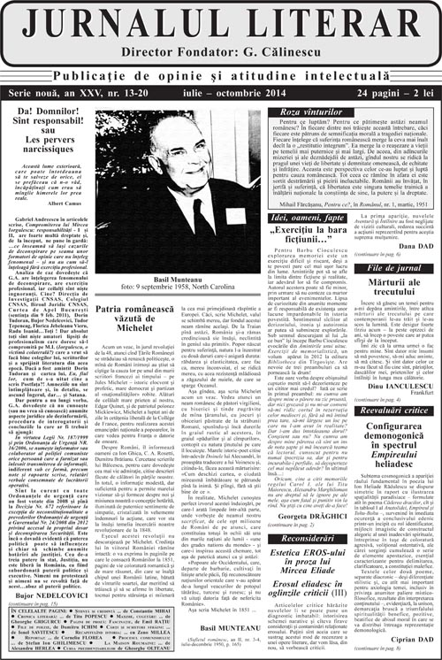 Prima pagină Jurnalul literar 13-20 iulie-octombrie 2014