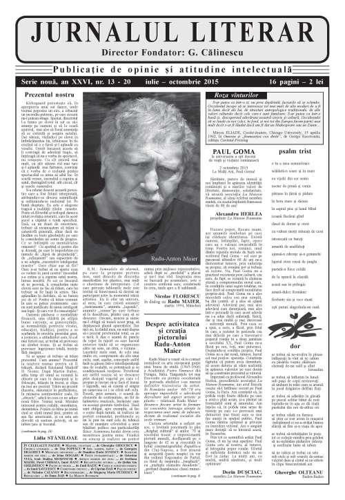 Prima pagină Jurnalul literar 13-20 iulie-octombrie 2015