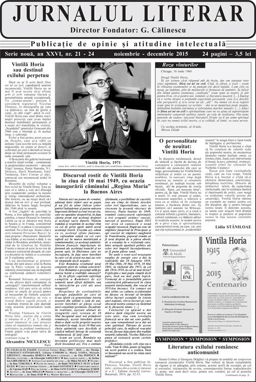 Prima pagină Jurnalul literar 21-24 noiembrie-decembrie 2015