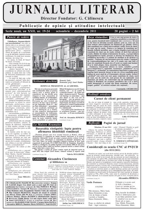 Prima pagină Jurnalul lierar 19-24 octombrie-decembrie 2011