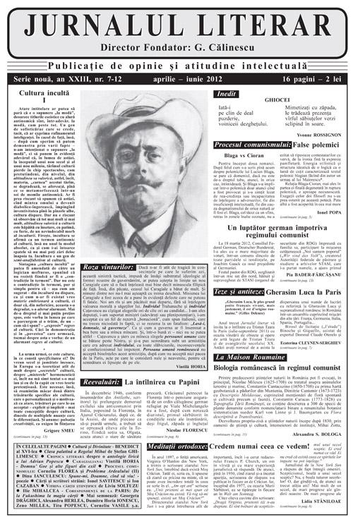 Prima pagină Jurnalul literar 7-12 aprilie-iunie 2012