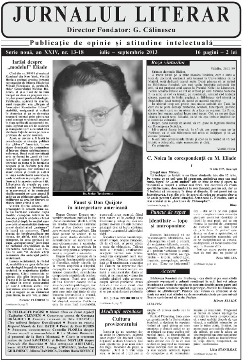 Prima pagină Jurnalul literar 13-18 iulie-septembrie 2013