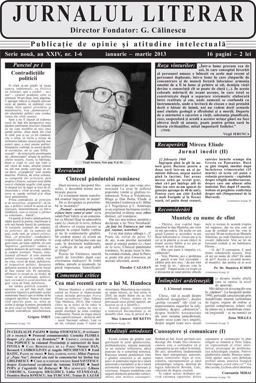 Prima pagină Jurnalul literar 1-6 ianuarie-martie 2013