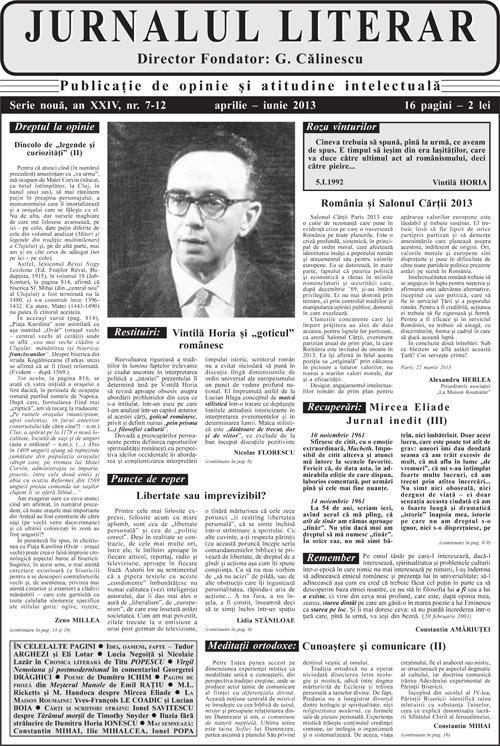 Prima pagină Jurnalul literar 7-12 aprilie-iunie 2013