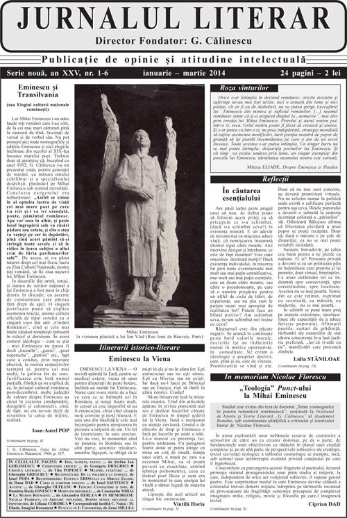 Prima pagină Jurnalul literar 1-6 ianuarie-martie 2014