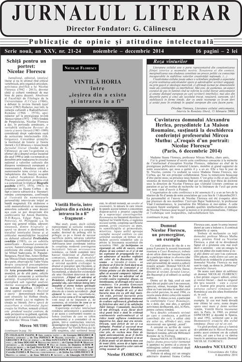 Prima pagină Jurnalul literar 21-24 noiembrie-decembrie 2014