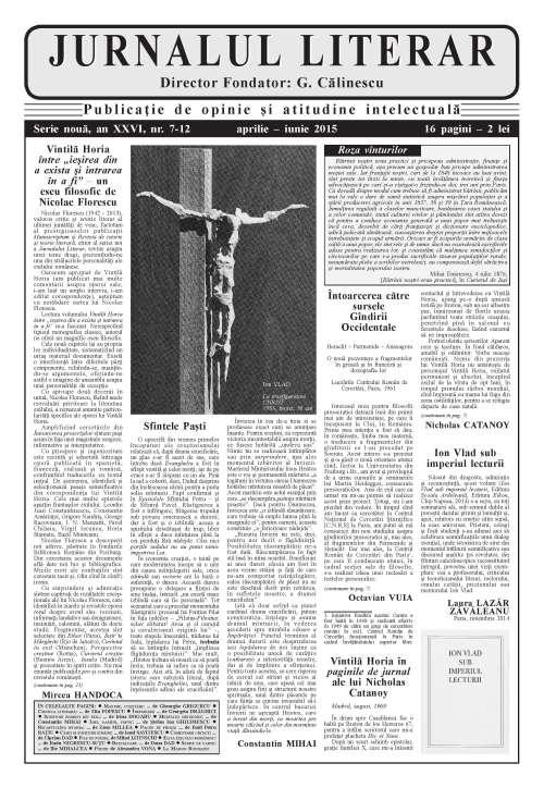 Prima pagină Jurnalul literar 7-12 aprilie-iunie 2015